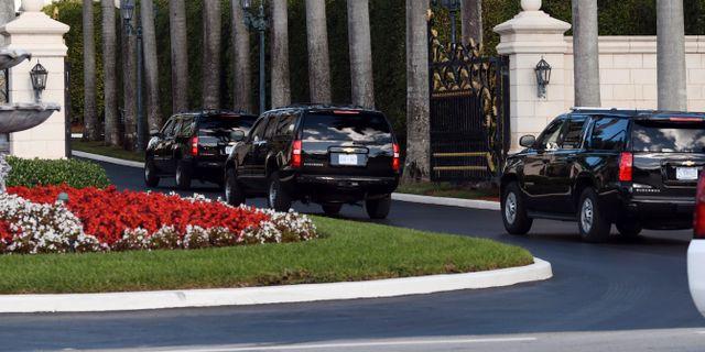 Trump på väg till West Palm Beach över julen.  Jim Rassol / TT NYHETSBYRÅN