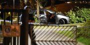 Polisen på mordplatsen. Emil Langvad/TT / TT NYHETSBYRÅN