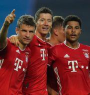 Serge Gnabry till höger firar, sitt andra mål med Robert Lewandowski och Thomas Mueller.  Miguel A. Lopes / TT NYHETSBYRÅN