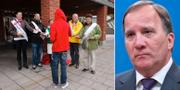 Förstagångsväljare utanför vallokal i Gustavsberg, Värmdö, och Stefan Löfven. TT