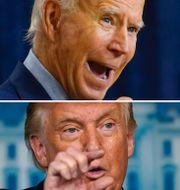 Presidentkandidaten Joe Biden, president Donald Trump, New York-börsen. Arkivbilder. TT