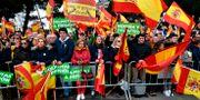 Demonstranterna viftade med spanska flaggor.  OSCAR DEL POZO / AFP