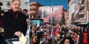 Mehmet Ozhaseki/väljare som lyssnar på honom. TT
