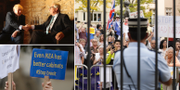 Demonstrationer skedde i samband med gårdagens möte mellan Boris Johnson och EU-kommissionsordföranden Jean-Claude Juncker. TT