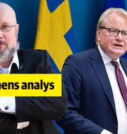 fPlus säkerhetsexpert Patrik Oksanen, Peter Hultqvist (S), försvarsminister Jessica Gow TT