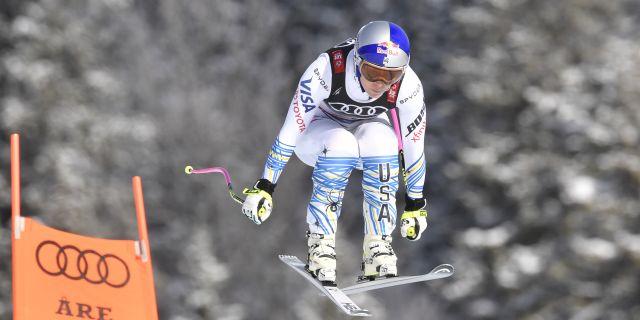 Lindsey Vonn från dagens åk. Anders Wiklund/TT / TT NYHETSBYRÅN