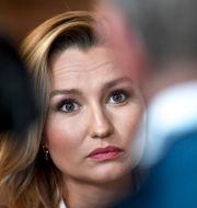 Ebba Busch på dagens pressträff.  Janerik Henriksson/TT / TT NYHETSBYRÅN