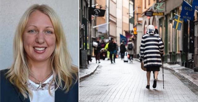 Karin Modig. Äldre kvinna i Stockholm. TT