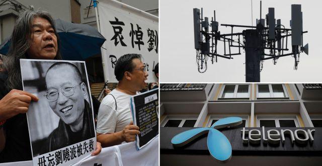 Protester vid årsdagen av Liu Xiaobos död 2017, mobilmast, Telenor. Arkivbilder. TT