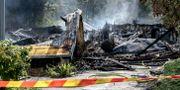 Hallen totalförstördes i branden. Björn Larsson Rosvall/TT / TT NYHETSBYRÅN