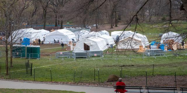 Ett fältsjukhus har byggts upp i Central park i New York. Mary Altaffer / TT NYHETSBYRÅN