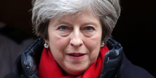 Theresa May lämnar sitt kontor på Downing Street i veckan. DANIEL LEAL-OLIVAS / AFP