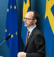 Miljö- och klimatminister Per Bolund (MP) och infrastrukturminister Tomas Eneroth (S). Fredrik Sandberg/TT / TT NYHETSBYRÅN