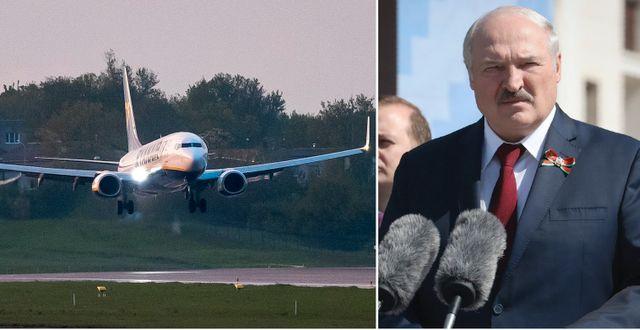 Ryanairplanet som tvingades landa i Minsk, landar i Vilnius. Till höger: Belarus president Aleksandr Lukasjenko TT