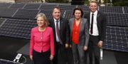 Statsminister Stefan Löfven med sina regeringskollegor. Thomas Johansson/TT / TT NYHETSBYRÅN