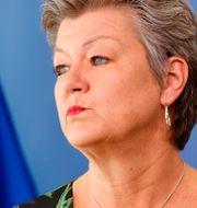 EU-kommissonär Ylva Johansson (S). Olivier Mattys / TT NYHETSBYRÅN.