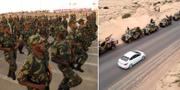 Haftars soldater i samband med en militärparad. TT