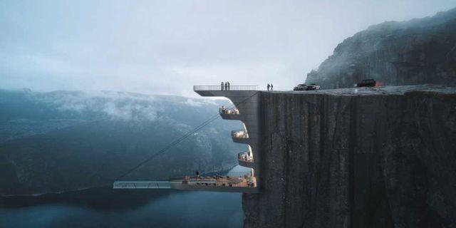Hotellet ser ut att hänga rakt ut från klippan. Hayri Atak Architectural Design Studio