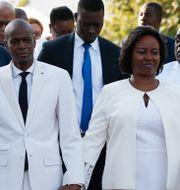 Haitis president Jovenel Moïse med sin hustru Martine.  Rebecca Blackwell / TT NYHETSBYRÅN