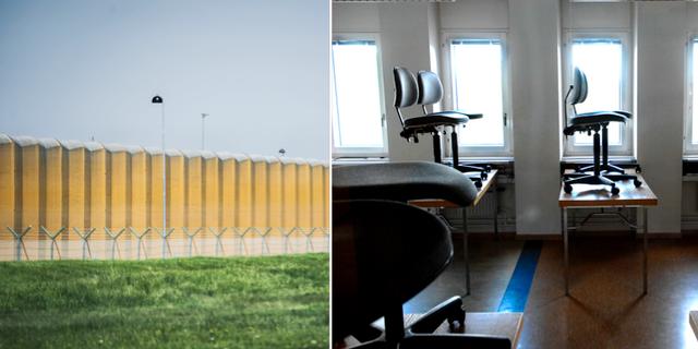 Arkivbilder på Kumlaanstalten och ett tomt klassrum.  TT