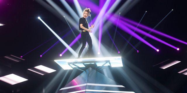Mariette är sist ut i kvällens deltävling i Melodifestivalen. Fredrik Sandberg/TT / TT NYHETSBYRÅN