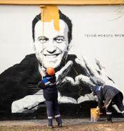 Graffitimålning av Aleksej Navalnyj i Sankt Petersburg. Ivan Petrov / TT NYHETSBYRÅN