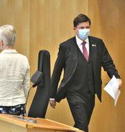 Riksdagens talman Andreas Norlén i riksdagen inför omröstningen av ett förslag om misstroendeförklaring Claudio Bresciani/TT / TT NYHETSBYRÅN
