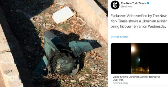 En bild som cirkulerar på sociala medier visar vad en iransk aktivist påstår vara en stridsspets från platsen där flygplanet kraschade, enligt The Guardian/New York Times uppmärksammade publicering från igår kväll. Twitter