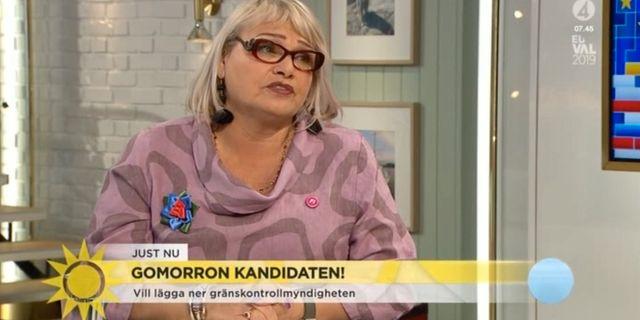 Feministiskt Initiativs toppkandidat i EU-valet, Soraya Post, i TV4:s Nyhetsmorgon.  TV4