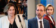MIljöpartiets språkrör Isabella Lövin och Kristdemokraternas Jakob Forssmed och Ebba Busch Thor.  TT
