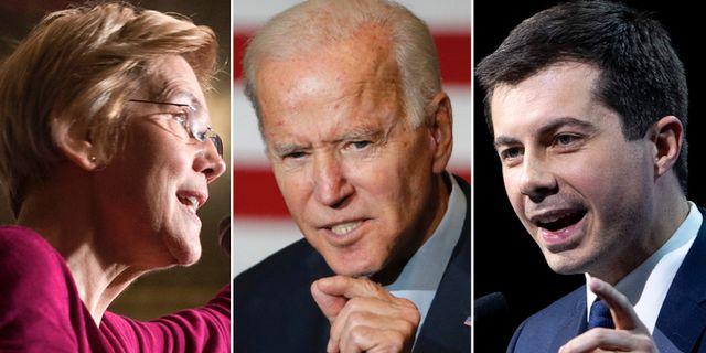 Elizabeth Warren, Joe Biden, Pete Buttigieg. TT