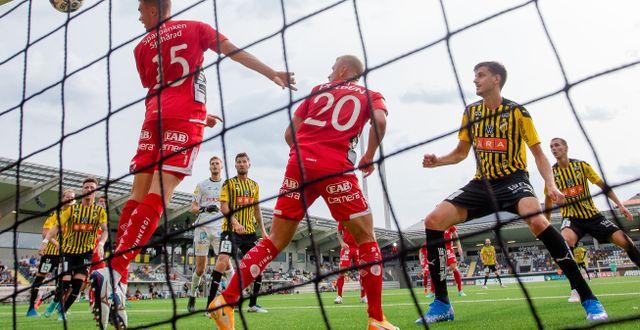Häckens Alexander Jeremejeff kvitterar till 1-1. MICHAEL ERICHSEN / BILDBYRÅN