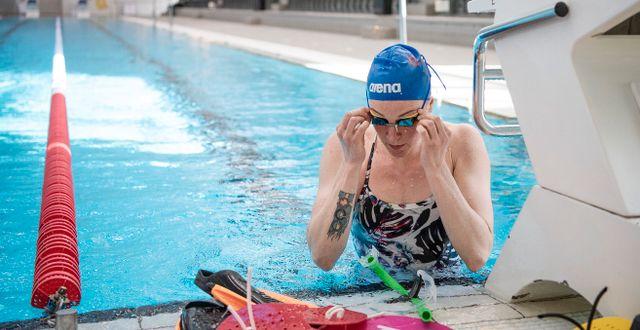 Sarah Sjöström under ett träningspass i maj. JOHANNA LUNDBERG / BILDBYRÅN