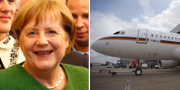 Angela Merkel och det tyska regeringsplanet  TT