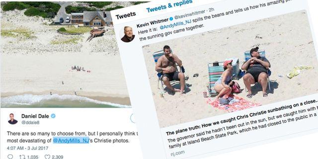 New Jerseys guvernör Chris Christie på stranden.  Twitter/NJ Advance Media