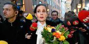 Sara Danius när hon meddelade att hon lämnar uppdraget som ständig sekreterare och sin stol i Svenska Akademien. Tomas Oneborg/SvD/TT / TT NYHETSBYRÅN