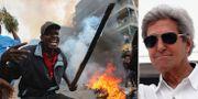 Protester i Nairobi/John Kerry. TT