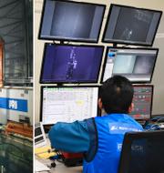 Den lagringspool där saneringen sker/anställda på kärnkraftsbolaget Tepco. TT