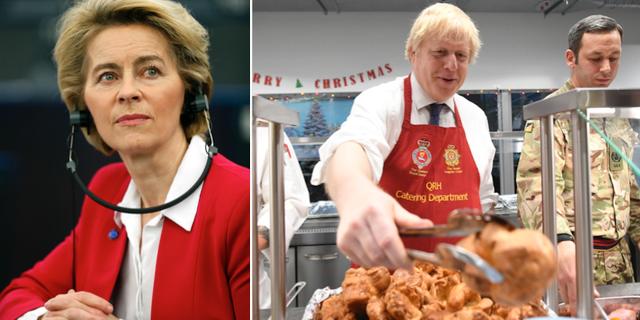 Ursula von der Leyen och Boris Johnson. TT.