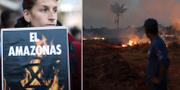 Bränderna i Amazonas syntes på plakat under fredagens globala klimatdemonstrationer/arkivbild, bränderna i slutet av augusti. TT