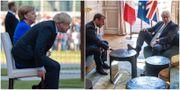 Till vänster: Boris Johnson mötte Angela Merkel i Berlin på onsdagen, till höger: Boris Johnson mötte Emmanuel Macron i Paris på torsdagen. TT