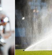 Vatten ur kran och bevattning av fotbollsplan. TT