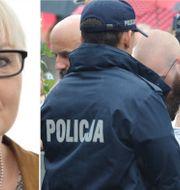 Maria Abrahamsson. Polska demonstranter protesterar utanför parlamentet på torsdagen. Riksdagen, AP/TT