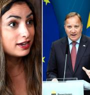 Arkivbilder: Vänsterpartiets ledare Nooshi Dadgostar/statsminister Stefan Löfven/ tidigare V-ledaren Gudrun Schyman TT