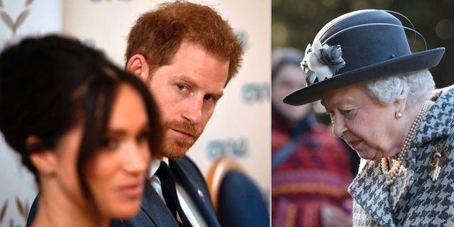 Meghan Markle, prins Harry och drottning ElizabethII. TT