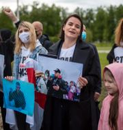 Manifestation till stöd för Belarus opposition i Litauen. Mindaugas Kulbis / TT NYHETSBYRÅN
