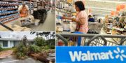 Home Depot-anställd, kund på Wall-Mart och förödelse efter stormen Irma i Florida. TT