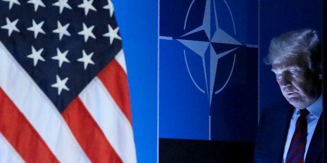 Donald Trump höll en egen presskonferens efter Nato-mötet i Bryssel igår.  REINHARD KRAUSE / TT NYHETSBYRÅN