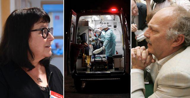 KI-forskaren Judith Bruchfeld. Ambulans med coronapatient. Anders Ekbom, KI-professor. TT.