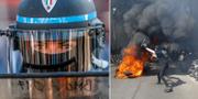 Bilder från helgens protester i Paris. TT